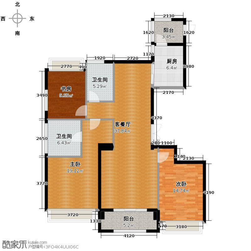裕丰青鸟香石公寓139.46㎡北区户型3室1厅2卫1厨