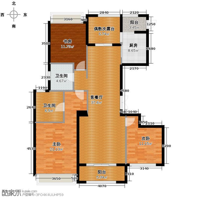 裕丰青鸟香石公寓139.19㎡北区户型3室1厅2卫1厨