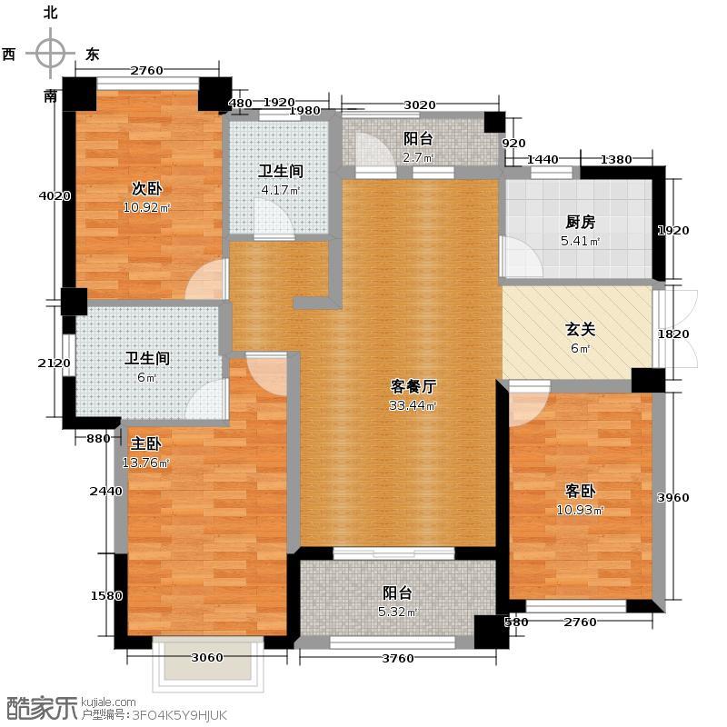 罗源湾滨海新城125.00㎡户型3室2厅2卫