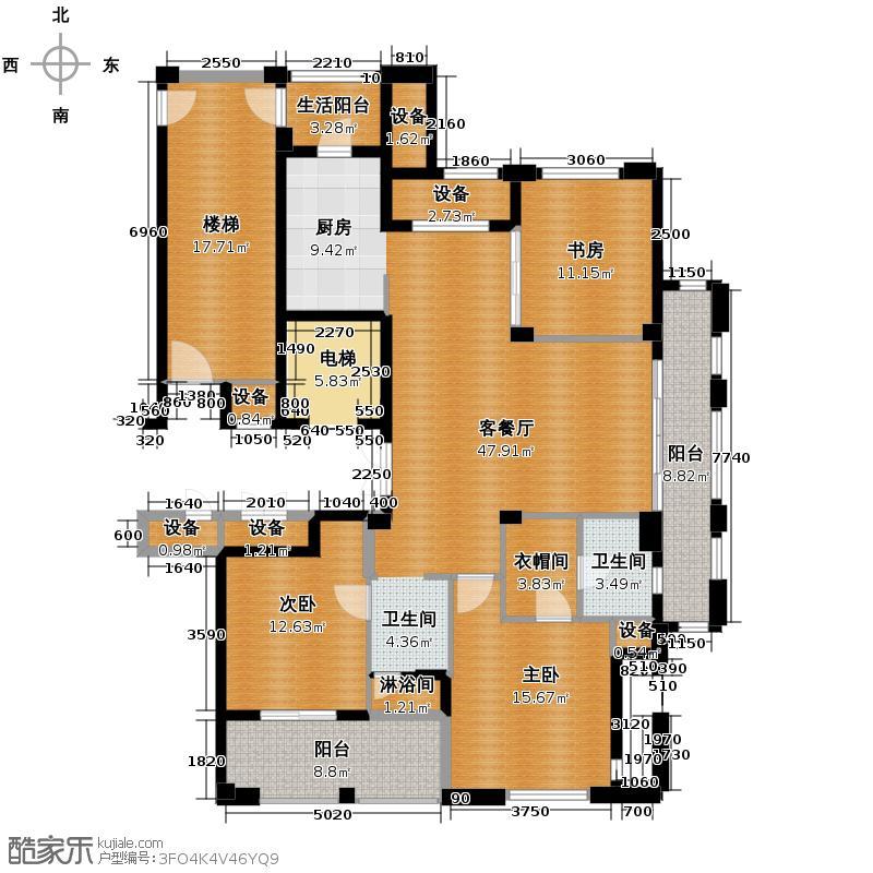 桂花星城143.00㎡一期1号楼、4号楼标准层户型3室1厅1卫