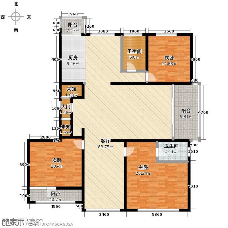 绿色新城二期嘉苑222.12㎡G户型4室1厅2卫