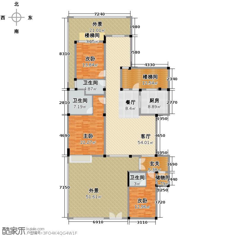 富豪新岸211.95㎡二期E1户型3室1厅3卫1厨