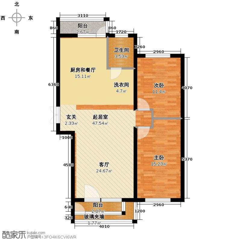 凤凰湾78.09㎡户型2室2厅1卫