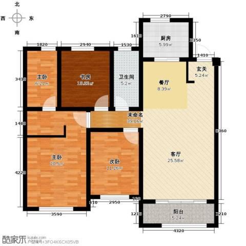 中海�庭3室2厅2卫0厨118.79㎡户型图