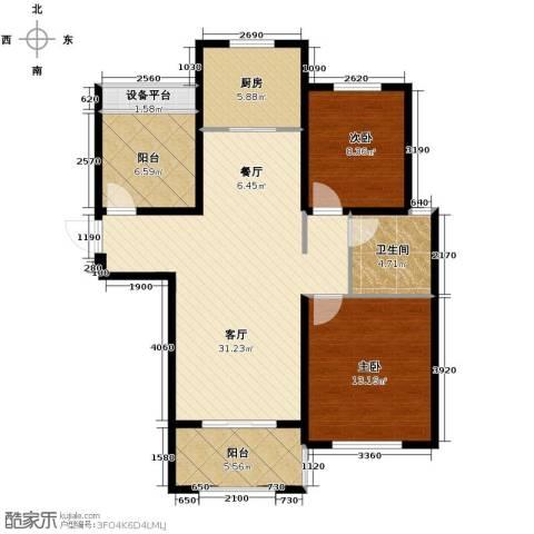 保利拉菲公馆2室2厅1卫0厨86.16㎡户型图