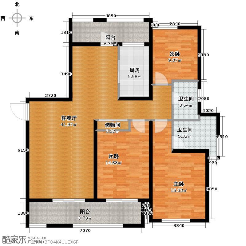 凯德龙湾132.00㎡1号楼澜A2户型3室1厅2卫1厨