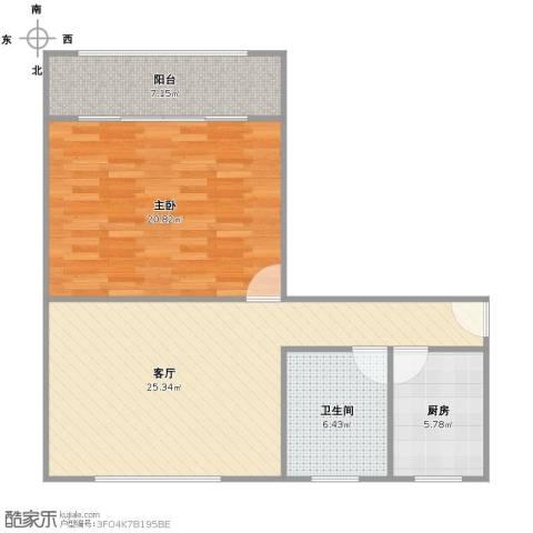瞿溪新村1室1厅1卫1厨88.00㎡户型图