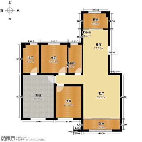 中海�庭3室2厅2卫0厨121.01㎡户型图