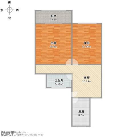 长江路848弄小区2室1厅1卫1厨125.00㎡户型图