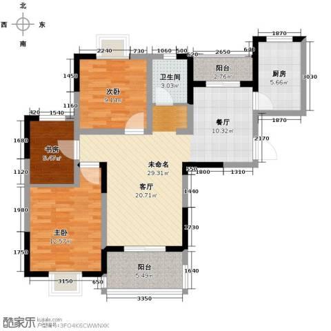 康城静林湾3室0厅1卫1厨107.00㎡户型图