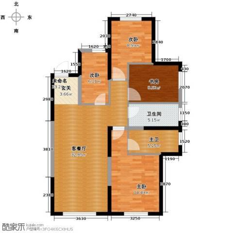 中海�庭3室2厅2卫0厨92.36㎡户型图