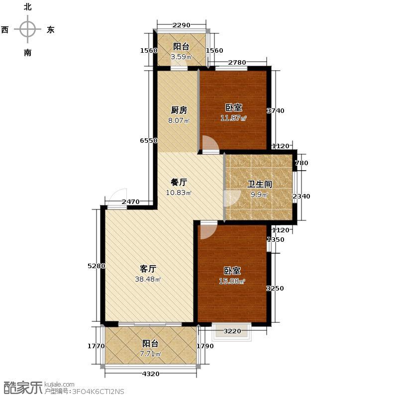 华远水木清华95.77㎡户型2室2厅1卫