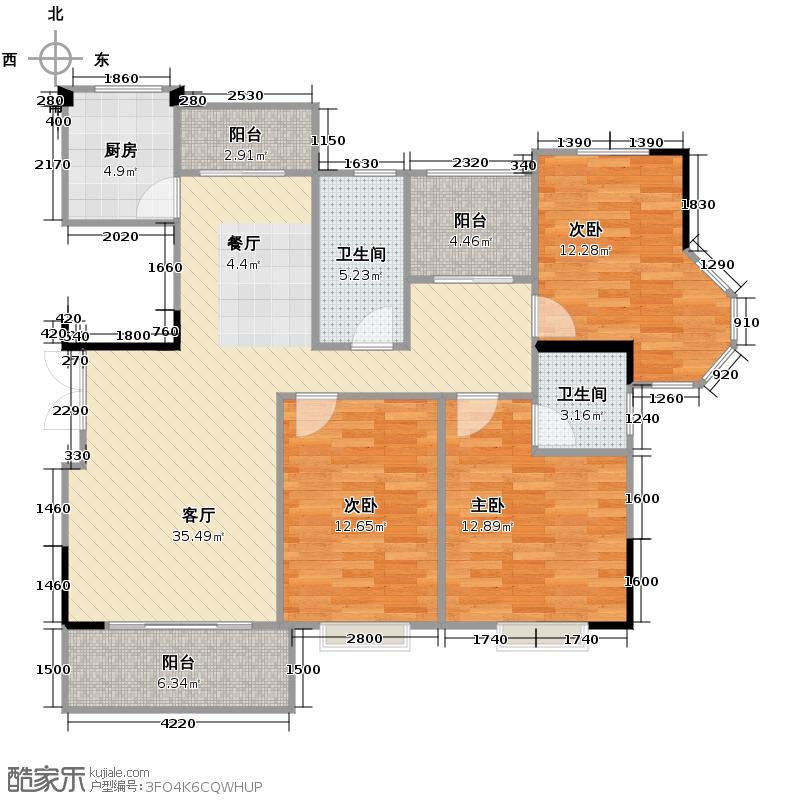 上城国际91.47㎡123m2户型3室1厅2卫1厨