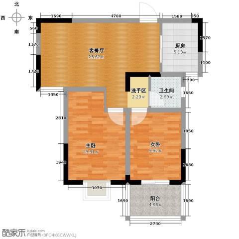 康城静林湾2室1厅1卫1厨85.00㎡户型图