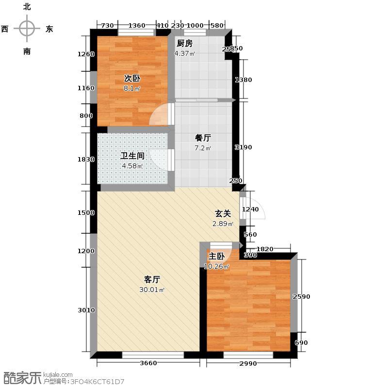 新里海德公馆95.41㎡二期12#户型2室1厅1卫