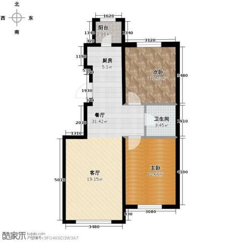 耶鲁印象2室2厅1卫0厨85.00㎡户型图