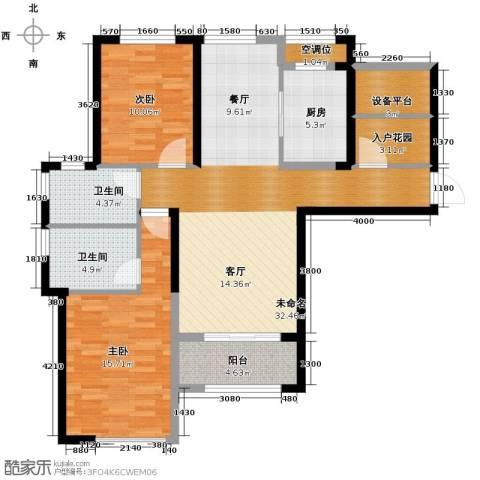保利香槟国际2室2厅2卫0厨114.00㎡户型图