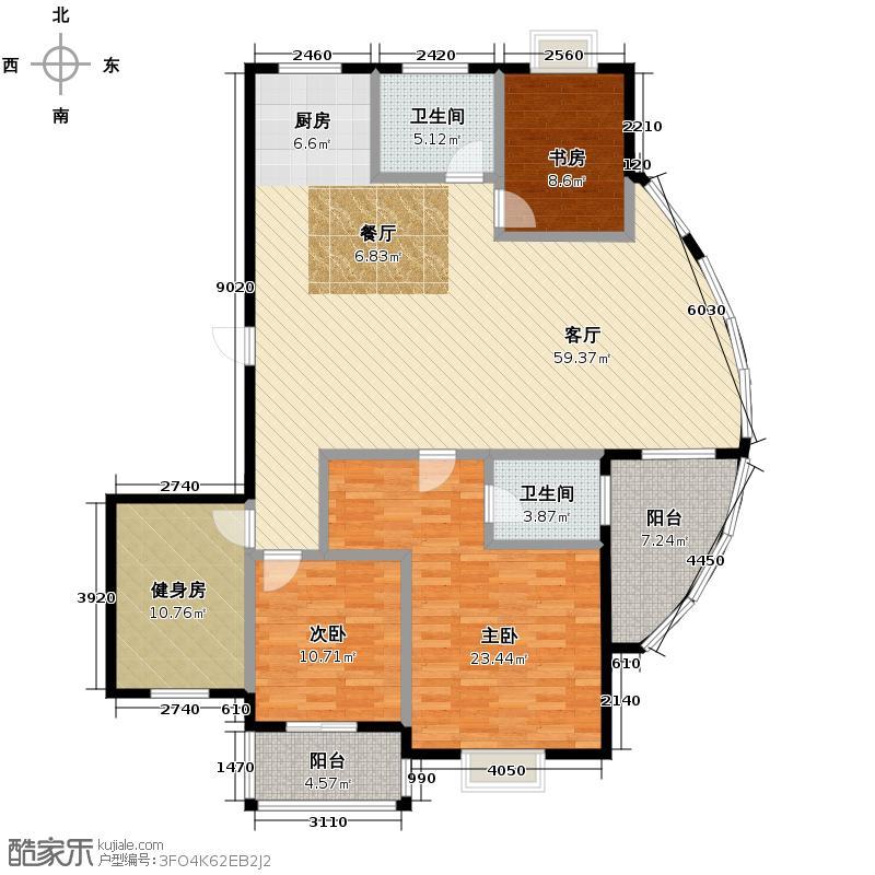 金海香滨湾161.00㎡户型3室1厅2卫