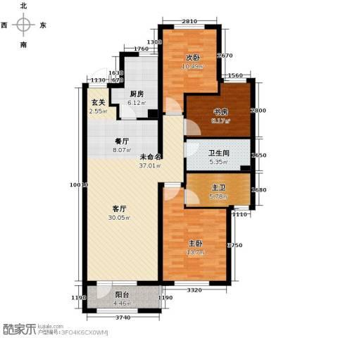 中海�庭3室2厅2卫0厨103.16㎡户型图