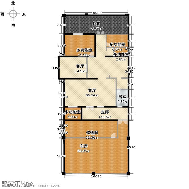 野风山301.93㎡A1地下层户型5室2厅4卫
