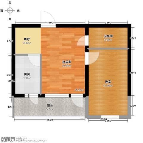 远创樾府1室1厅1卫0厨57.00㎡户型图