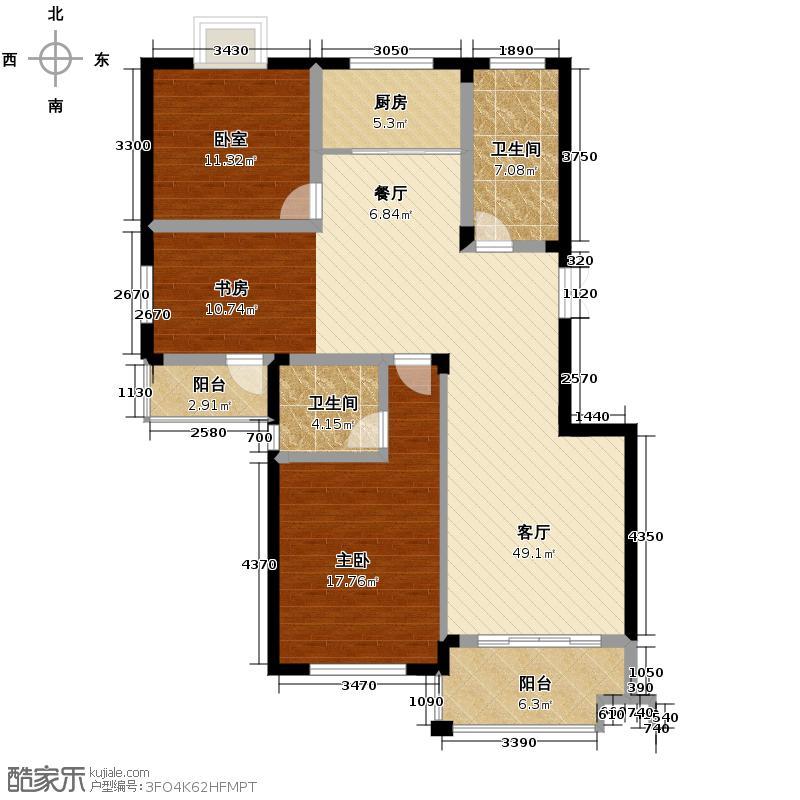 紫园123.00㎡户型1室1厅2卫1厨