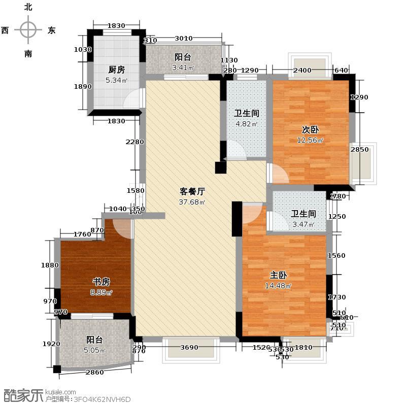 信步闲庭130.00㎡户型3室1厅2卫1厨
