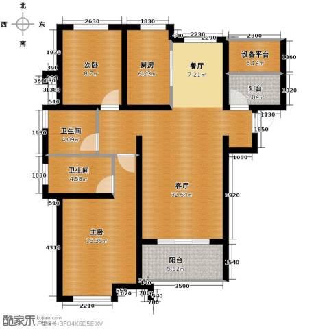 保利海上五月花2室2厅2卫0厨117.00㎡户型图