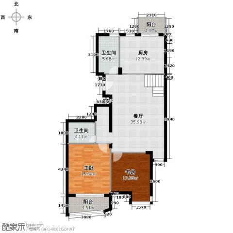 秋涛雅苑2室1厅2卫1厨127.00㎡户型图