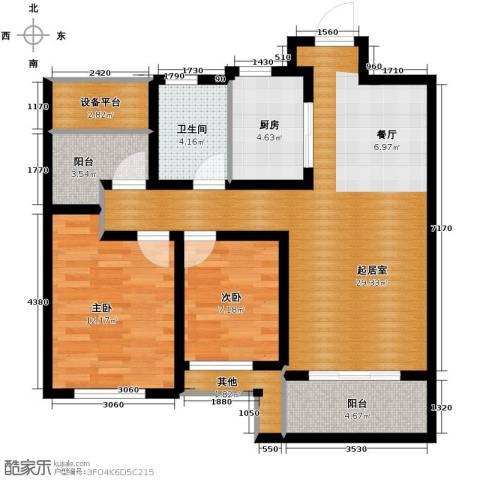 保利海上五月花2室2厅1卫0厨91.00㎡户型图
