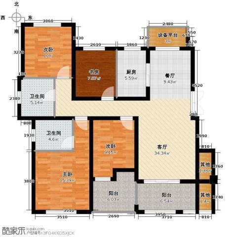 保利海上五月花4室1厅2卫1厨130.00㎡户型图