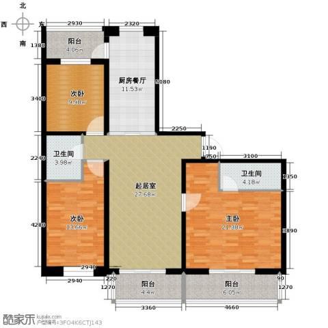 盛世香湾3室2厅2卫0厨153.00㎡户型图