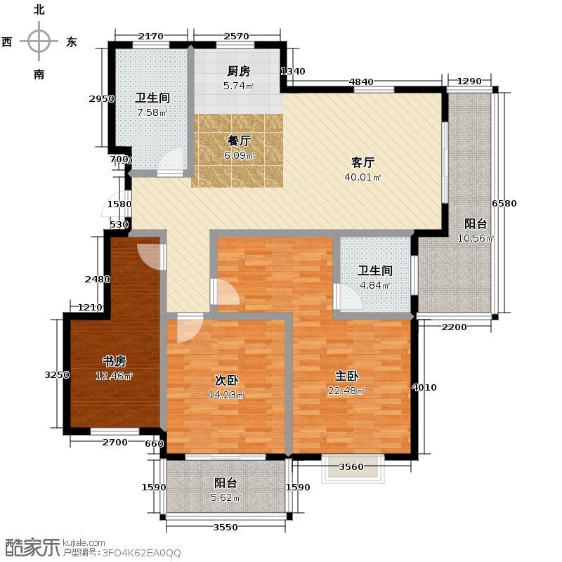 金海香滨湾145.00㎡户型3室1厅2卫