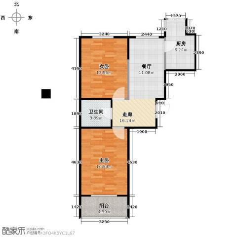 博众新城二期2室0厅1卫1厨74.00㎡户型图