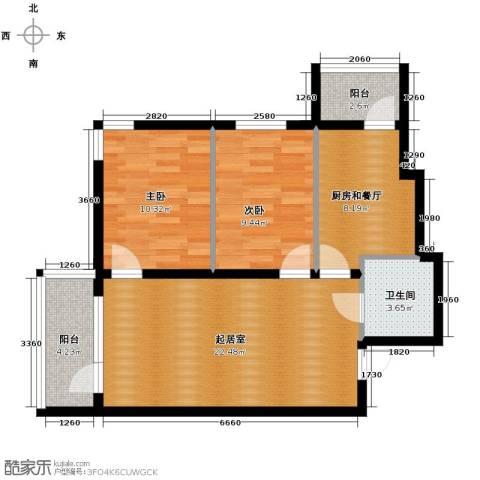 远创樾府2室1厅1卫0厨87.00㎡户型图