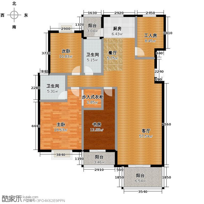 金海香滨湾154.00㎡户型3室1厅2卫