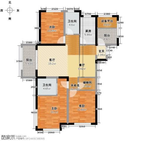 保利香槟国际3室2厅2卫0厨137.00㎡户型图