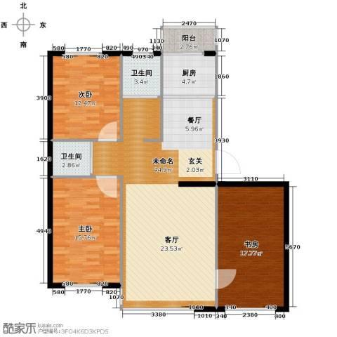 新星宇和邑3室2厅2卫0厨129.00㎡户型图