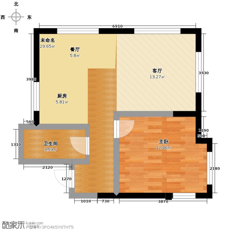 亚泰梧桐公馆68.00㎡A1户型1室1卫