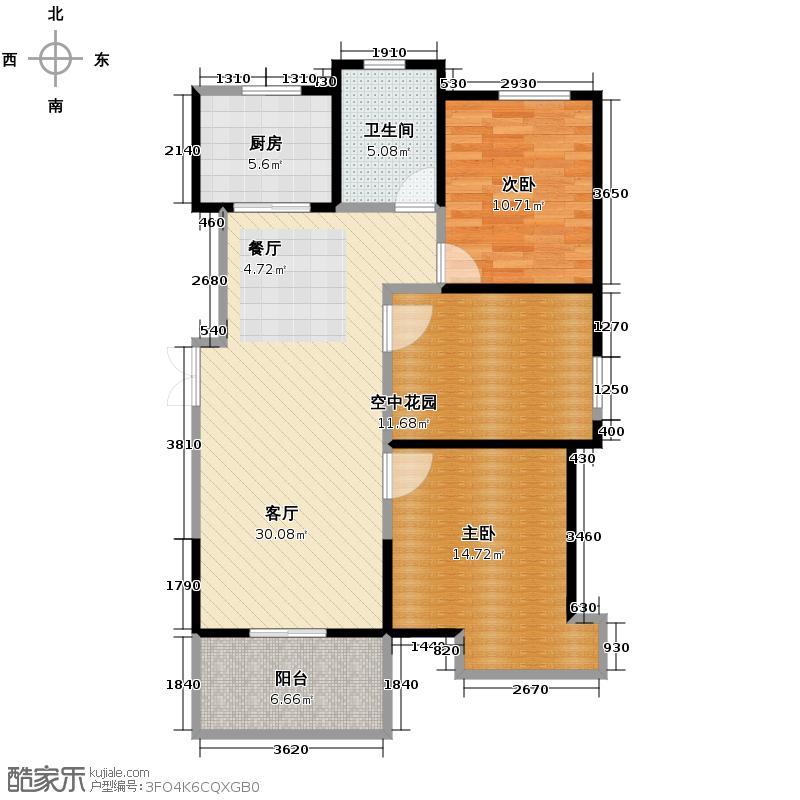 金宏豪庭102.87㎡户型2室2厅1卫
