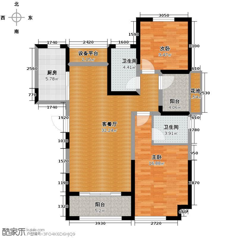 华地润园115.00㎡E1户型2室2厅1卫