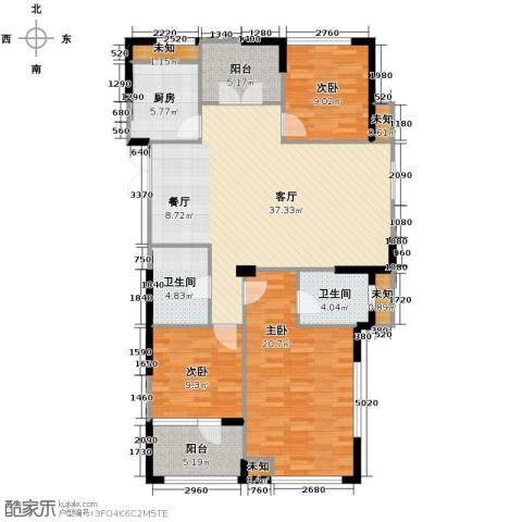 泊悦府3室2厅2卫0厨120.00㎡户型图