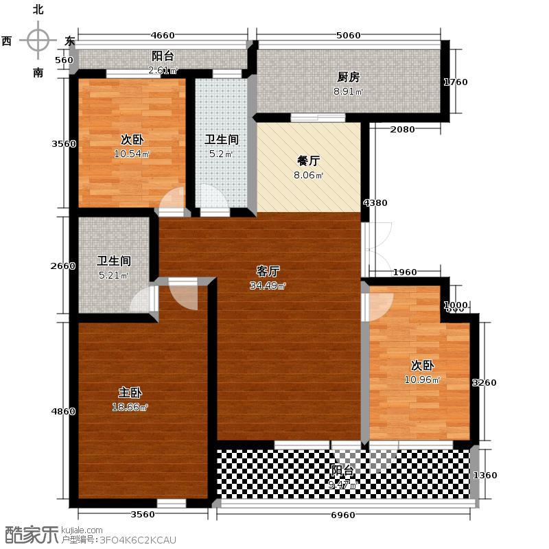 美好桂花溪园137.50㎡南区9号楼户型3室2厅2卫
