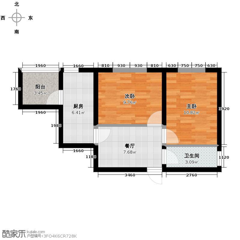 绿色新城二期嘉苑65.00㎡M户型2室1厅1卫