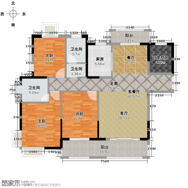 三盛托斯卡纳124.61㎡户型4室2厅2卫