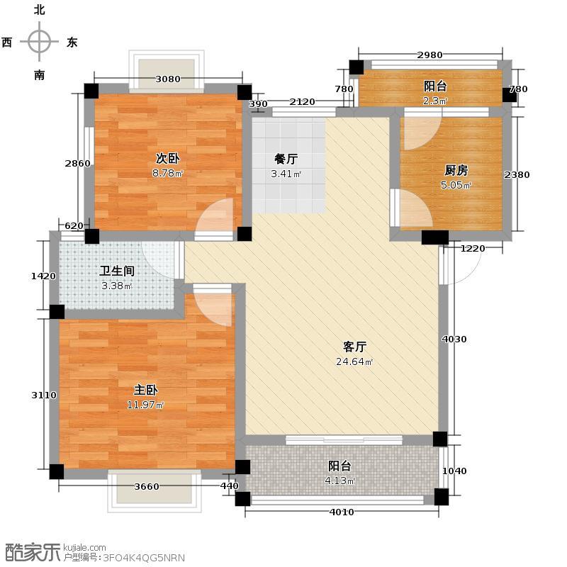 富豪新岸69.16㎡L户型2室1厅1卫1厨