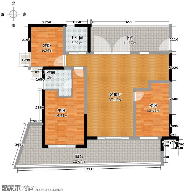 中信・香水湾129.22㎡公寓C2户型3室2厅2卫