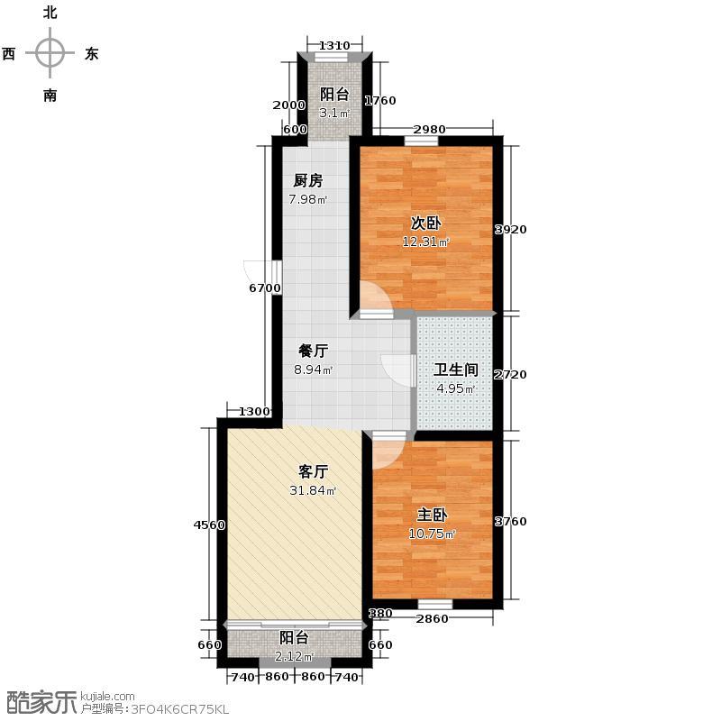 绿色新城二期嘉苑84.99㎡J户型2室1厅1卫