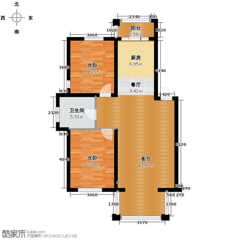 上院97.96㎡62B户型2室2厅1卫