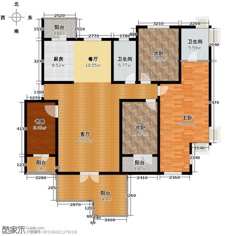 保利公园九号172.86㎡情景洋房CI二层户型10室
